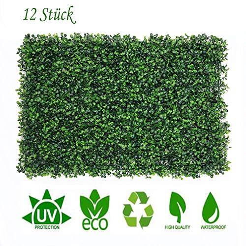 uyoyous 12 Stück Künstliche Hecke Hängepflanzen Efeu Rebe Wand für Haus Zimmer Garten Hochzeit Girlande Außerhalb Dekoration - 40X60cm