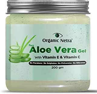 Organic Netra® Pure Aloe Vera Gel With Vitamin C & E | Cold Pressed | For Skin, Face, Hair | Paraben Free | Sulphate Free...
