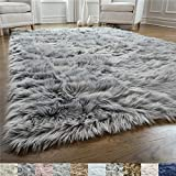 GORILLA GRIP Original Premium Faux Fur Area Rug, 2 FT x 8 FT, Softest, Luxurious Carpet Rugs for Bedroom, Living Room, Luxury Bed Side Plush Carpets, Rectangle, Gray