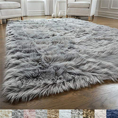 Gorilla Grip - Alfombra de piel de oveja sintética, suave, para la sala, dormitorio, muy suave, agradable al tacto, decoración moderna de lujo para habitación, Gris, 3' x 5' Rectangle, 1