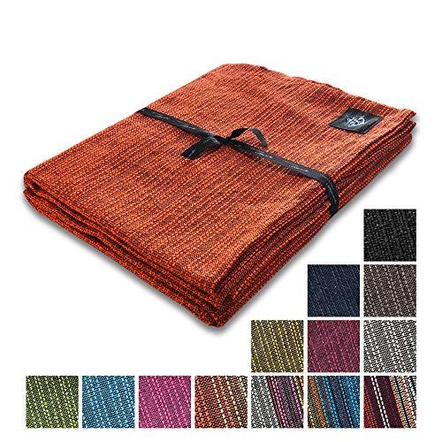 """Craft Story Decke """"Yara"""" I Uni orange aus 100% Baumwolle I Tagesdecke I Sofa-Decke I Überwurf I Bedspread I Plaid I Picknickdecke I Läufer I 170 x 220cm"""