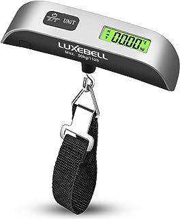 Luxebell Básculas para Equipaje Báscula Digital 50kg Balanza de Retroiluminación de LCD de Sensor de Temperatura con la Batería para Equipaje Viaje