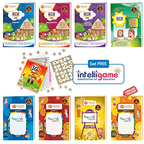 LKG Kids (3-5 Years) All-in-One 592 Pages ACE Early Learning Worksheets & Writing Practice in English, Mathematics, Hindi, General Knowledge / EVS (KG 1) 8 Books Paperbacks Bundle from 3H Learning