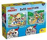 Lisciani Puzzle para niños, 2 puzles de 12 piezas 2 en 1, Doble Cara con reverso para colorear - Disney Mickey 86559