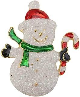 Gold Plated Colorful Enamel Snowman Santa Christmas Tree Bell Brooch Pin Jewelry | Shape - Snowman