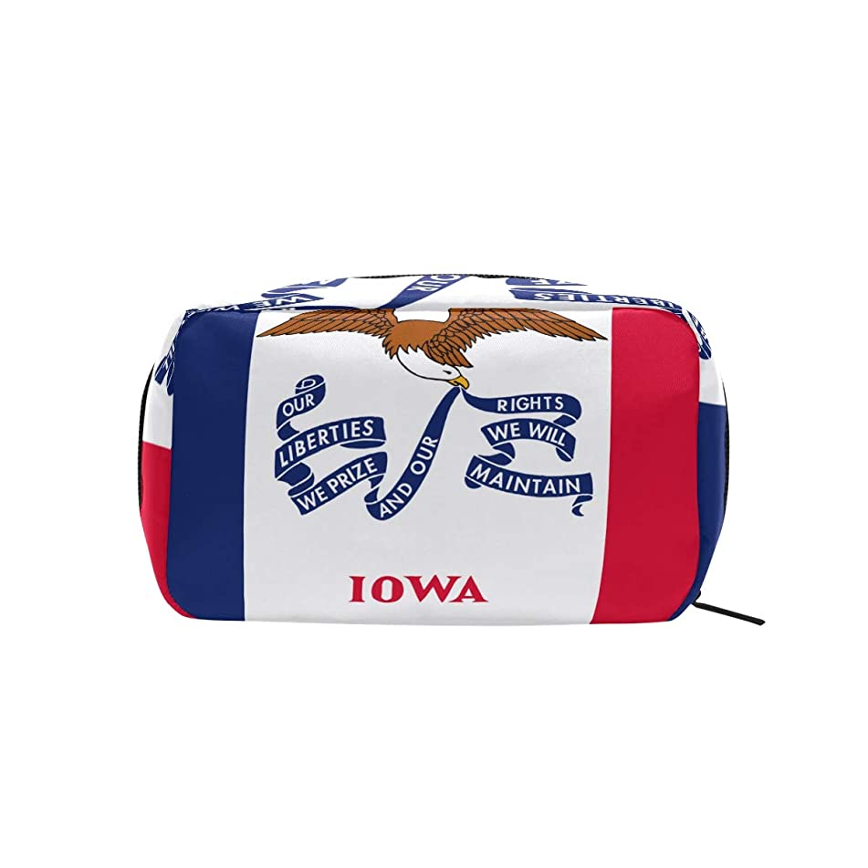 Iowa State Flag Makeup Bags Multi Compartment Pouch Storage Cosmetic Bag
