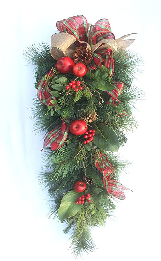 Premium Christmas fruit teardrop swag for front door, holiday home decor 34 inches