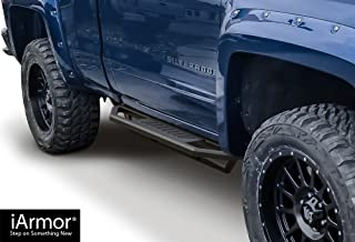 APS iArmor Aluminum Side Steps Armor Custom Fit 2007-2018 Chevy Silverado GMC Sierra Regular Cab & 2019 2500 HD 3500 HD (Exclude 07 Classic)(Include 19 1500 LD) (Nerf Bars Side Steps)