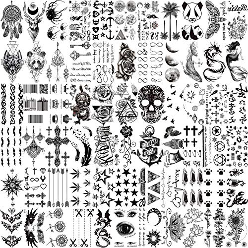 VANTATY 66 Sheets 3D Small Black Temporary Tattoos For Women Men Waterproof Fake Tattoo Stickers For Face Neck Arm Children Tattoo Temporary Flower Birds Star Realistic Tatoo Kits For Boy Girls Adults