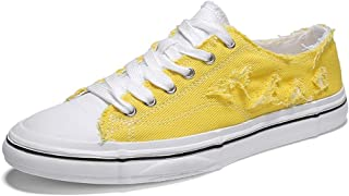 Shangruiqi Summer Casual Plimsolls for Men Outdoor Walking Low Top Cloth Shoes Lace up Flat Canvas Shoes Antislip Outsole Anti-Wear (Color : Yellow, Size : 6.5 UK)