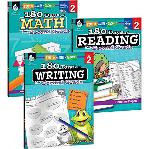 180 Days of Practice for Second Grade (Set of 3), 2nd Grade Workbooks for Kids Ages 6-8, Includes 180 Days of Reading, 180 Days of Writing, 180 Days of Math