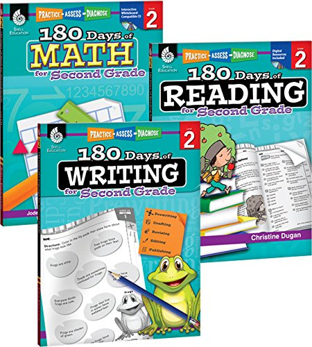 180 Days Of Practice For Second Grade (Set Of 3), 2nd Grade Workbooks For Kids Ages 6-8, Includes 180 Days Of Reading, 180...