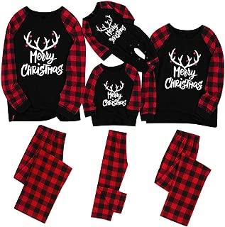 aihihe Matching Christmas Pjs for Family with Baby Pajamas Sets Elk Plaid Print Tee and Pants Loungewear Sleepwear Set