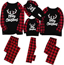 Forthery Matching Family Pajamas Sets Christmas PJ's with Letter Printed Long Sleeve Tee and Red Plaid Pants Loungewear