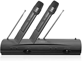 Pyle Pro Dual Channel VHF Professional Wireless Microphone System Set with 2 Handheld Microphones, Receiver Base, 1/4'' Audio Connection Cable, Power Adapter - For Karaoke, PA, Public Event - PDWM2100