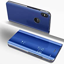 Mapzi Compatible for Samsung Galaxy S9 Plus Case Flip Case Kickstand Mirror Luxury Electroplate Plating Smart Clear View Cover Samsung Galaxy S9 Plus (Blue)