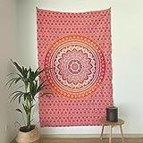 momomus Tapiz Mandala Colorido - 100% Algodón, Grande, Multiuso - Tapices de Pared Decorativos Ideales para la Decoración del Hogar, Habitación o Salón - Naranja, 135x210 cm