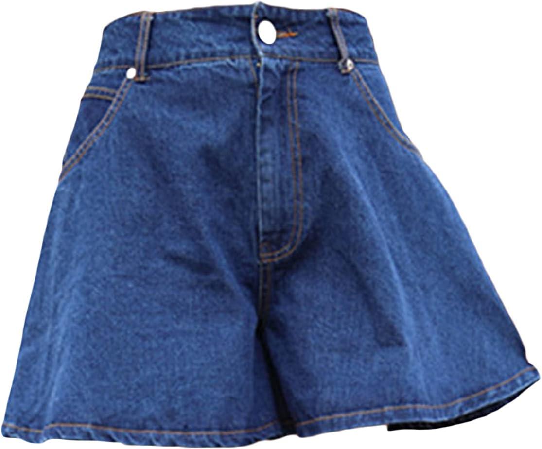 Women's A 100% quality warranty Line Denim Popular popular Short Pants Waisted Leg Ba Wide Casual High