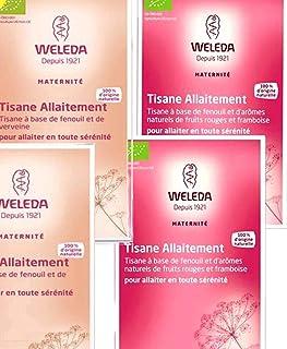 Weleda BIO Tisane allaitement 20 sachets 40g - Lot de 2 Boites Fruit Rouges et Framboises et 2 Boites Fenouil verveine ( OF )