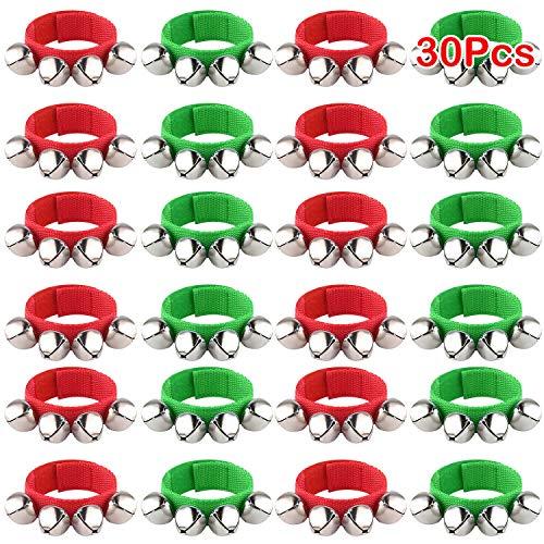 FEPITO 30 piezas Banda de Navidad Campanas de muñeca Pulseras Jingle Bells Campanas musicales de tobillo Instrumento de ritmo Percusión Decoración de fiesta de Navidad Favores