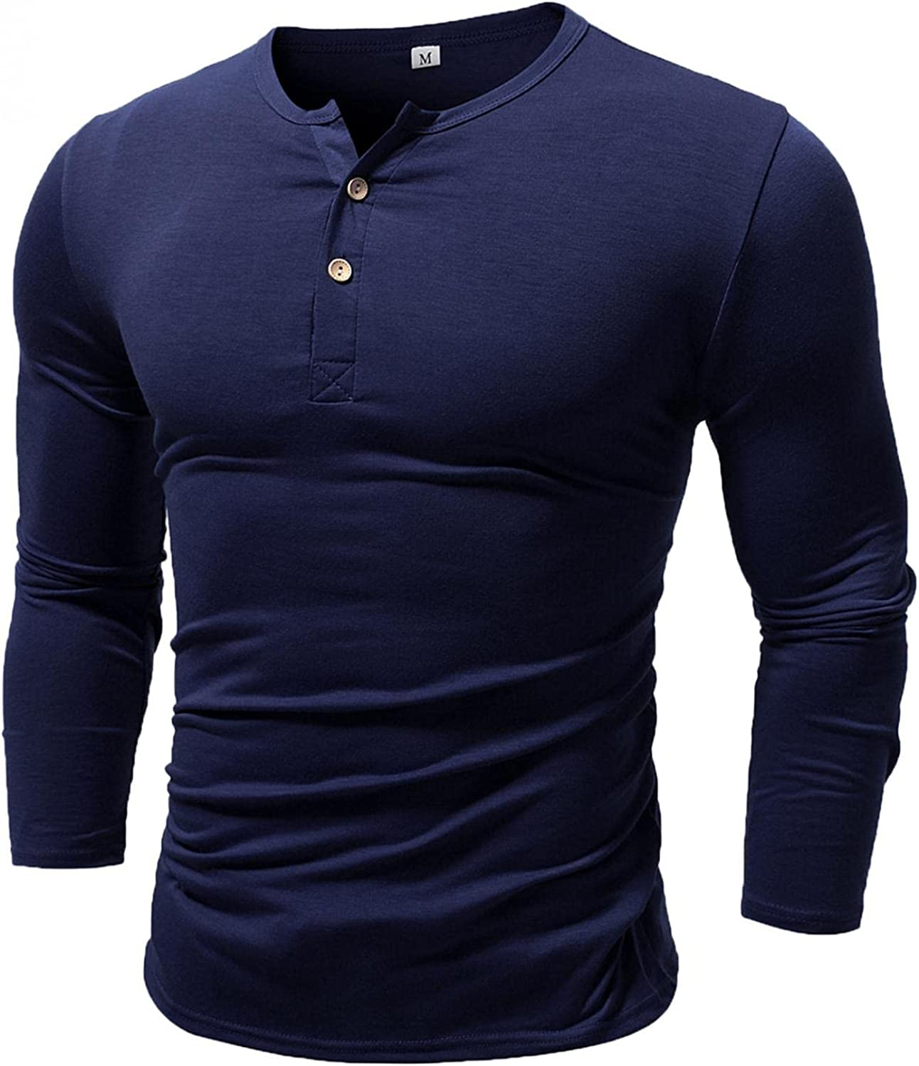 LEIYAN Mens Casual Slim Fit Henley Shirts V-Neck Long Sleeve Active Gym Ahtletic Workout Muscle Tops