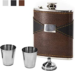 Natwag Flask 7 OZ- Stainless Steel with Leather Wrapped Cover and 100% Leak Proof, Funnel and Shot Glass Included