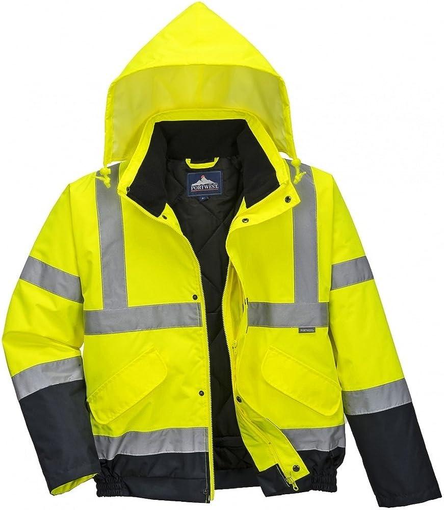 Portwest Unisex Hi-Vis Bomber Jacket (S463) / Workwear / Safetywear (3XL) (Hi-Vis Yellow/ Navy)