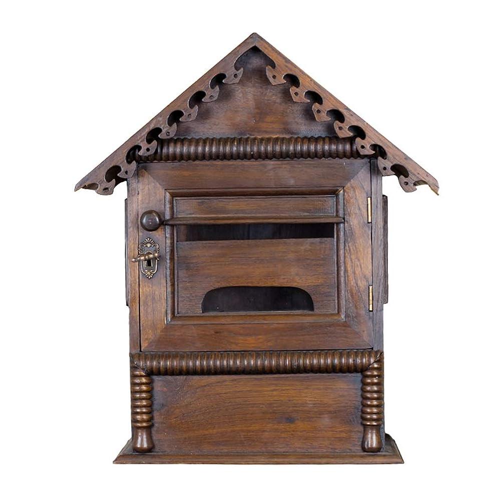 解放する教科書プランテーションDS-ドンシェンショップ 郵便箱 - 木材、ロックホームレトロウッドと壁に吊るした壁紙は、新聞のレターボックスに置くことができます。ヴィラ、中庭、家庭に適しています - 38X16X45cm &&