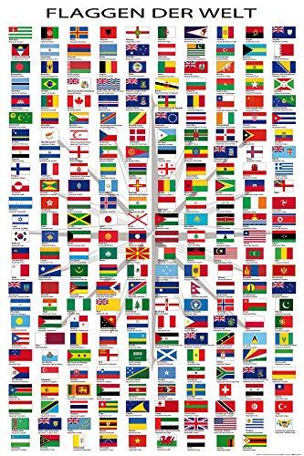 1art1 Flaggen Der Welt - Ländernamen Und Hauptstädte, In Deutsch XXL Poster 120 x 80 cm