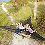 beootcr Revolutionary Giant Aerial Camping Hammock, Multi Person Outdoor Hammock with Anti-Roll Straps, Portable Triangle Tree Hammock for Camping, Travel, Backyard, Patio, Garden (9FT,Black)