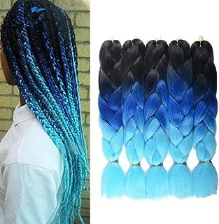 Ombre Jumbo Braiding Hair Kanekalon Hair for Braiding Black to Royal Blue to Sky Blue 24 Inch 5 Packs/lot