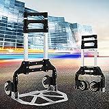 Trolley portatile pieghevole in lega di alluminio a due sezioni Mini bagaglio, custodia per trolley da spesa per uso domestico, portata 75 kg, Confezionamento conveniente (Colore : Nero)