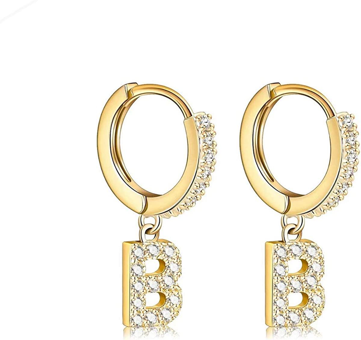 14K Washington Mall Gold Plated Cubic Zirconia Delicate Earrings OFFicial mail order Small H Initial
