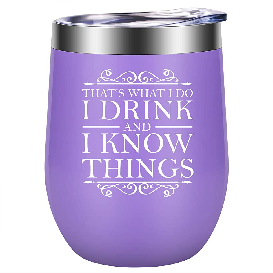 That's What I Do, I Drink and I Know Things - GOT House Lannister Inspired Merchandise - Funny Birthday, Friendship Wine Gifts for Women Best Friend, Wife, Mom, Coworker - LEADO 12oz Wine Tumbler Cup