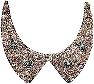 LANGUGU Elegant Detachable Blouse False Collar Sequins Beads Flowers Collar Choker Peter Pan Necklace