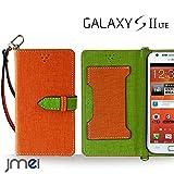 GALAXY S2 LTE SC-03D ケース JMEIオリジナルカルネケース VESTA オレンジ docomo ギャラクシー samsung サムスン スマホ カバー スマホケース 手帳型 ショルダー スリム スマートフォン