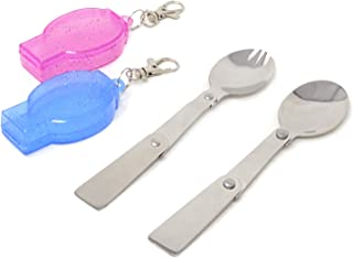 Honbay Portable Folding Tableware Set Stainless Steel Spoon and Fork for Thermos, Camping, Travel and Other Outdoor Activities