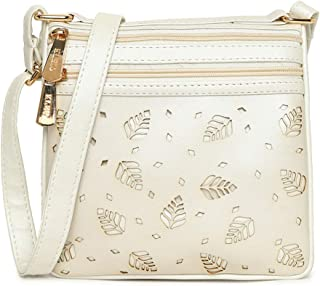 KLEIO Laser Cut 3 Compartment Sling Cross Body Side Bag for Girls/Women