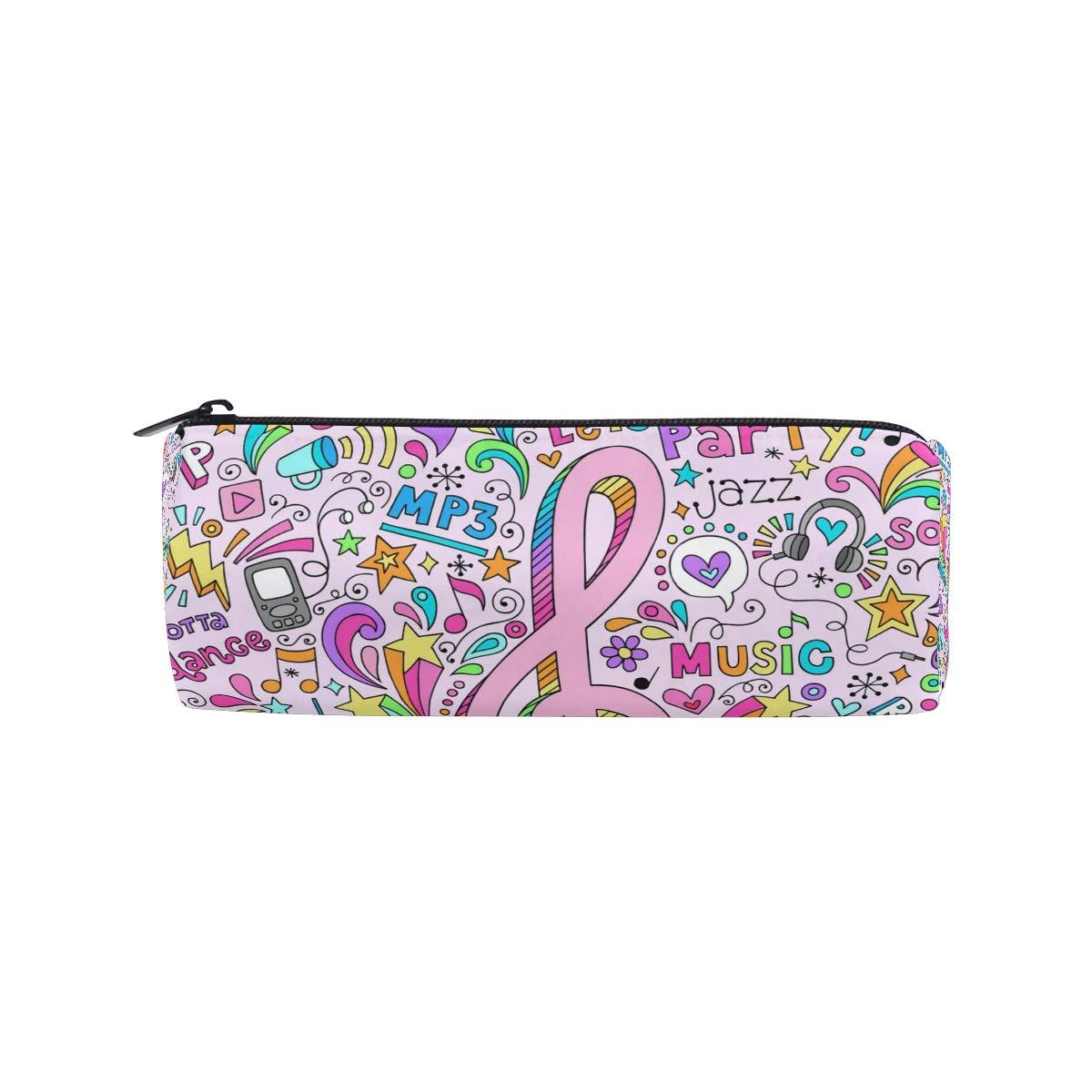 BONIPE - Estuche para lápices, diseño de fondo musical, color rosa: Amazon.es: Oficina y papelería