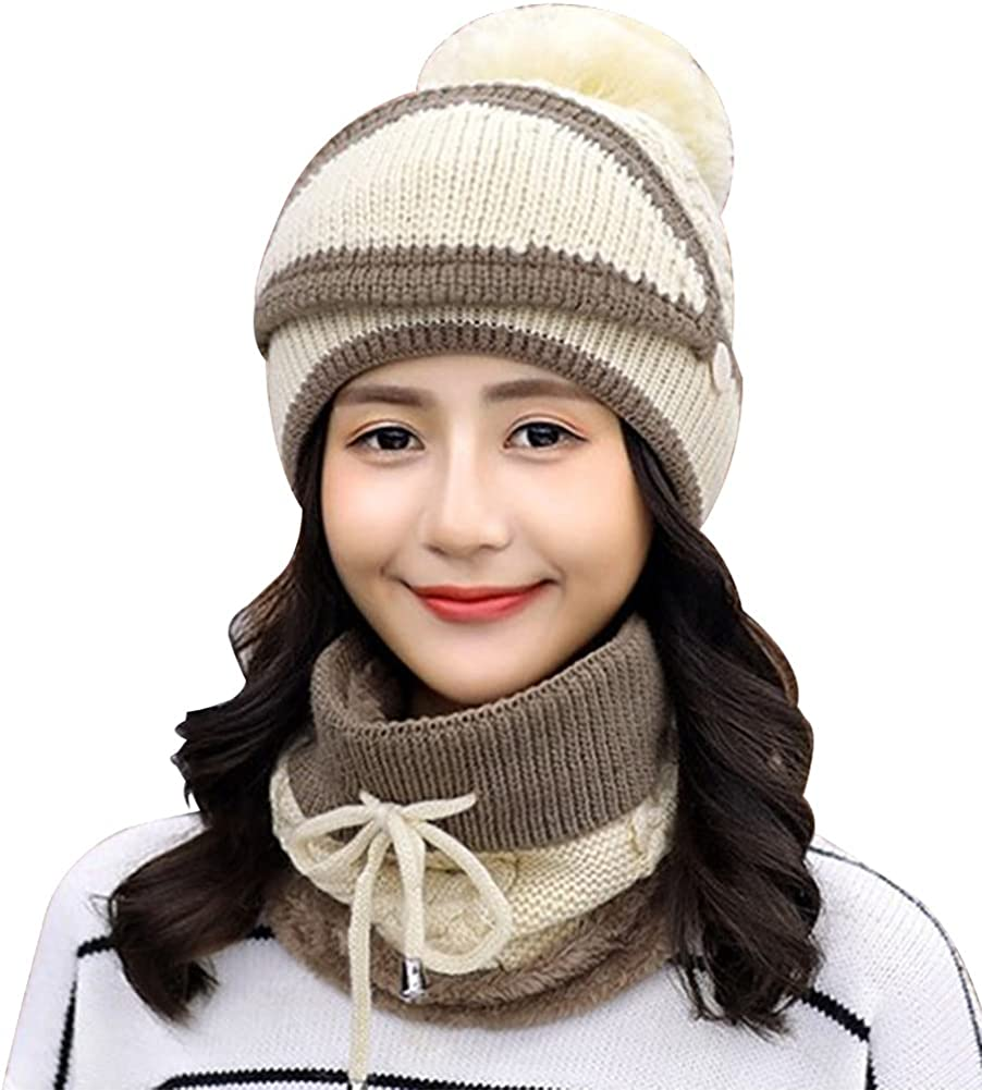 Fleece Lined Knit Beanie Scarf Mouth Mask Set for Girl Ski Hat Women Winter Skully Caps with Pompom