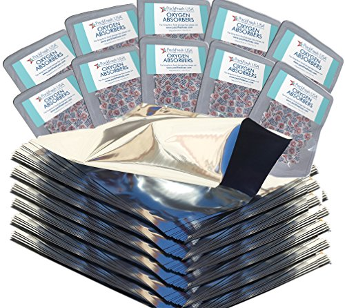 PackFreshUSA 1 Gallon Mylar Bags with 10 500cc Oxygen Absorbers
