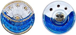 Botones, 1 Pieza, Button prensado Redondo checo con una caña de Metal, tamaño 8 (diámetro 18 mm), Vidrio Bohemio, Pintado a Mano, Crystal with White and Blue Background, Gold Decorated
