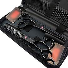 Hair Scissors 6.0 Inch Black Red Diamond Professional Left Hand Hairdressing Scissors Set Scissors (Color : Black)