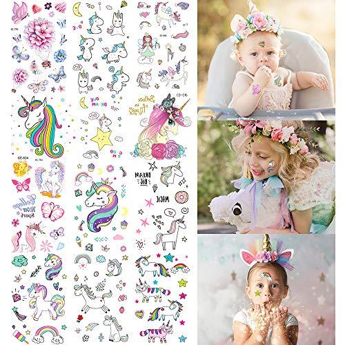 MMTX Tatouages Temporaires Enfant, Tatouage Licorne Papillon Ephémères Tatouages Autocollants De Parfait pour Les Enfants Fête D'anniversaire Fournitures Fête Cadeaux Parti Sacs Remplisseur Enfants