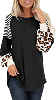 BBZUI Casual Womens Leopard Lantern Sleeve Stripe Colorblock Patchwork Tops Blouse Pullover