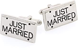 JJ Weston Just Married Wedding Cufflinks. Made in the USA.