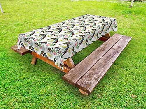 ABAKUHAUS Exotisch Outdoor-Tischdecke, Tukane auf Tropical Flora, dekorative waschbare Picknick-Tischdecke, 145 x 305 cm, Mehrfarbig