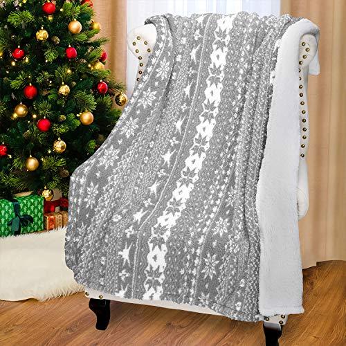 Catalonia Weihnachten Sherpa Decke, super weiche warme Flauschige Bequeme Lammwolle Schneeflocke Decken Wendbare Plüsch Fleece Weihnachten Thema wirft Sofadecke Kuschel Couchdecke, 155 x 127 cm, grau