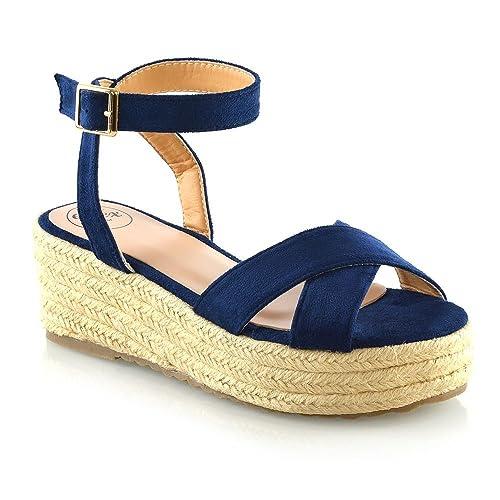 a32dc6464af7 ESSEX GLAM Womens Cross Strap Platform Wedge Heel Sandals Ladies  Espadrilles Shoes Size 3-8