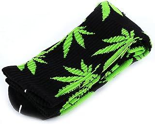 Calcetines altos unisex, de la marca Zehui, con diseño de hojas de marihuana